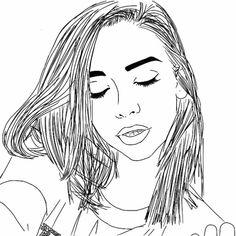 aesthetic, drawing, fan art, girl, line art, mine, outline, tumblr
