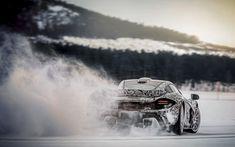 Wallpaper Mclaren p1, ice drifting, rear view