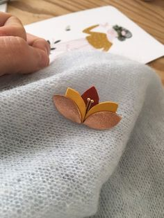 Christmas Outfits : Poetic Brooch, Leather Brooch, Jewel Flower Petals Autumn Colors - Brick Red, Saffron Yellow and Rose Gold Fabric Jewelry, Clay Jewelry, Gold Jewelry, Leather Accessories, Leather Jewelry, Burlap Roses, Wreath Drawing, Leather Flowers, Brooches Handmade