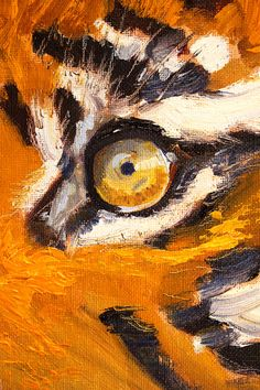 Tiger Eye Animal Portrait Small 4x6 Original by smallimpressions