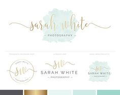 A ready-made watercolor logo design and branding kit for photographers and boutique businesses, in mint watercolor style and handwritten script style font in gold. Includes premade logo design and photography watermark stamp. Photography Business Cards, Photography Logo Design, Business Logo, Business Card Design, Fotografie Branding, Watercolor Branding, Pink Watercolor, Watermark Design, Flower Logo