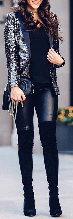Love this glitzy jacket with the leather pants and thigh boots! Super cute for the winter months!