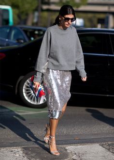Look de Giovanna Battaglia no street style da Paris Fashion Week.