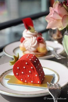 Strawberry mousse coated in chocolate in the playful form of a strawberry. #patisserie #creative