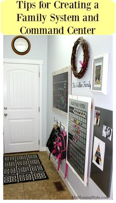 Create a family system and command center you will love with these easy tips. Running a household can be tricky, this command center will make it so Parent Command Center, Command Center Kitchen, Command Centers, Family Organization Wall, Family Organizer, Bathroom Organization, Calendar Organization, Organization Skills, Organization Station
