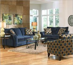 Multi-colored sofa group in Navy with patterned accents