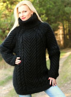 Cable knit sweater hand knitted thick mohair pullover fuzzy jumper by SuperTanya Pullover Design, Handgestrickte Pullover, Sweater Design, Thick Sweaters, Cable Knit Sweaters, Women's Sweaters, Black Turtleneck, Mohair Sweater, Sweater Outfits