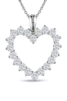 2 CT Diamond Heart Pendant In 14k White Gold