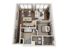 View stylish 1 Bedroom & 2 Bedroom floor plans, pricing, and availability at Crescent Falls Church Sims 4 House Plans, Small House Plans, House Floor Plans, Sims House Design, Home Room Design, Small Apartment Design, Apartment Layout, Apartment Floor Plans, Tiny Apartments