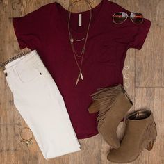 Our Nina Basic Top - Burgundy!  Get yours online now for $13!  #ShopPriceless #FallFashion  www.ShopPriceless.com Click link in bio to shop our outfits!✨