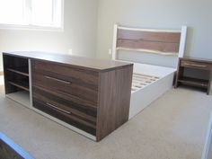 live edge headboard with custom storage footboard - cloud white framework for this bed  - model home