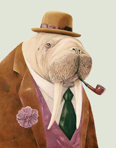 Walrus 8x10 archival art print ANIMAL CREW PORTRAIT by animalcrew