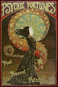 Psychic Fortunes Print 12x18 Art Nouveau Psychedelic Gypsy