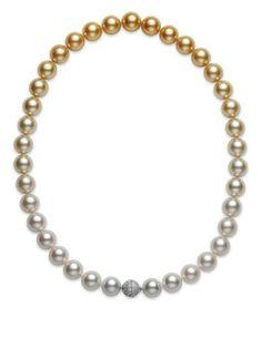 Mikimoto white and golden South Sea cultured pearl strand