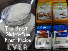 The BEST gluten-free flour recipe EVER. pre-made and many homemade versions and finally - this one is perfect! Fluffy, nearly like the real thing and even our non-gf family members prefer the foods made with this homemade gluten-free flour mix recipe! Gluten Free Flour Mix, Gluten Free Diet, Foods With Gluten, Gluten Free Cooking, Gluten Free Desserts, Dairy Free Recipes, Paleo Flour, Pan Sin Gluten, Sem Gluten Sem Lactose