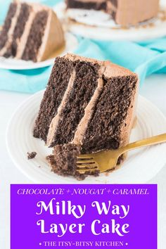 This chocolate caramel cake with chocolate nougat filling (AKA Milky Way cake) is a candy bar- and cake-lover's dream! recipe via itsybitsykitchen.com #milkyway #chocolate #caramel #cake