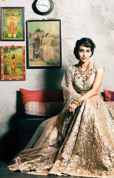 Karisma Kapoor on Hello! India in Sequin Sabyasachi Lehenga