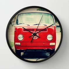 Red VW Bus Wall Clock by Anna Dykema Photography - $30.00