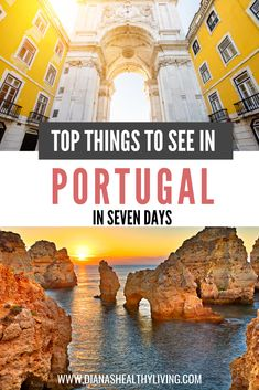 The Top Things to See in Portugal in Seven Days If you are planning a trip to Portugal, here is the ultimate one week Portugal travel itinerary that will have you visiting Lisbon, Sintra, Belem and Algarve. Road Trip Portugal, Portugal Porto, Portugal Train, Portugal Vacation, Portugal Travel Guide, Visit Portugal, Europe Travel Guide, Spain And Portugal, Travel Destinations
