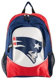 """16"""" - NFL Football - New England Patriots Backpack by Little Earth. $12.95. Whether it's back to school, heading to the big game or a trek into the wilderness, this officially licensed backpack is the perfect accessory.  This backpack is constructed of very durable material to ensure long life and dependability.  Three roomy interior pockets let you store all your belongings and there's even cargo netting on the sides for more storage.  The adjustable shoulder straps ensure comf..."""