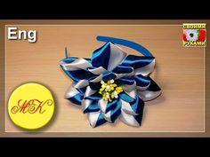 Diadema con una gran y exuberante flor kanzashi (Eng) - YouTube