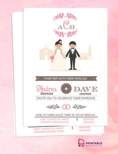 Couple Cartoon In Front of Church Invitation