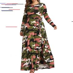 Plus Size Camouflage Print Maxi Dress for Women Long Sleeve Casual Baggy Party Clubwear Long Dress Ladies Round Neck Loose Dress With Belt Plus Size Gowns, Plus Size Maxi Dresses, Maxi Dress With Sleeves, Long Sleeve Maxi, Boho Dress, Dress Casual, Women's Fashion Dresses, Ideias Fashion, Summer Outfits