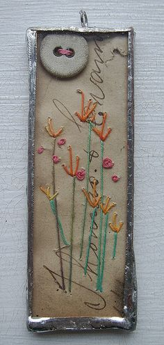 Embroidered & Soldered Collaged Pendant