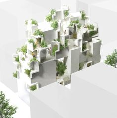 Bridging the gap between nature and architecture, the Tokyo-based architecture office of Akihisa Hirata have designed an organic residential complex. Layered Architecture, Japanese Architecture, Architecture Office, Architecture Drawings, Residential Architecture, Amazing Architecture, Architecture Design, Architecture Models, Building Architecture
