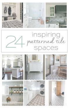 24 inspiring ways to use patterned tile in neutral spaces.  www.tableandhearth.com