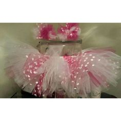 Pink and white polka dot tutu and matching bows created by Sonya Dorsey
