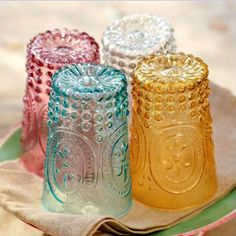 Everything Fabulous: What I love today: Victorian Tumblers from Pottery Barn Love Vintage, Vintage Colors, Vintage Dishes, Vintage Glassware, Vintage Cups, Deco Boheme, Jewel Tones, Colored Glass, Glass