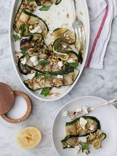 Grilled Zucchini ....Judith's comment: look here for the most wonderful photos of grilling Zucchini w/ Goat Cheese & Pinenuts ~ Oh Yummy!