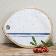 Ceramic Cheese Board, Pottery Serving Tray, Modern Pottery Plate, Clay Serving Board, White Blue Indigo Cobalt, Gift for Her, Christmas Gift