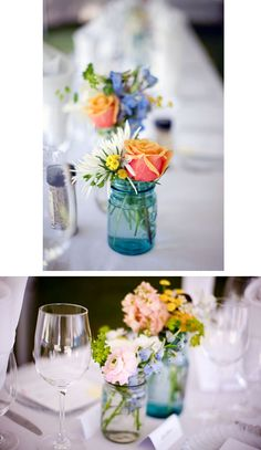 country wedding....center pieces, I love it and will use red roses. :)