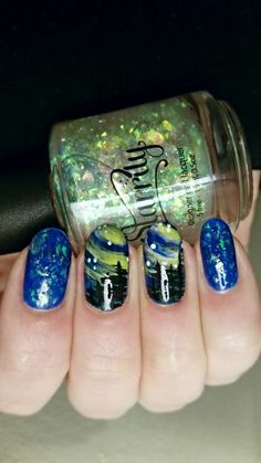 """Aurora Borealis Nails! Accented with a flakie polish by Starrily, called """"Northern Lights"""". The rest is free hand, with acrylic paints."""