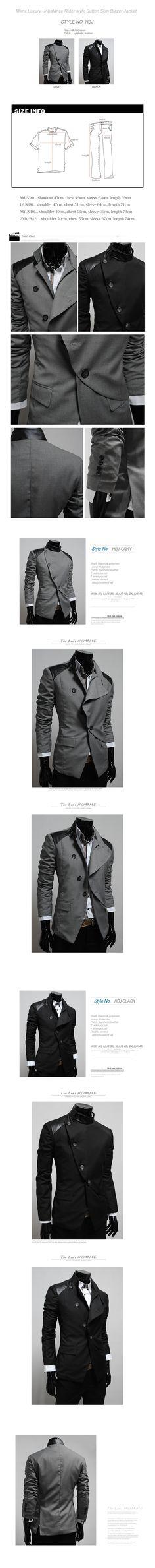 Mens casual unbalance button jacket blazer BLACK