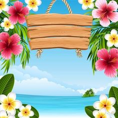 aloha party vector illustration - tropical landscape with flowers