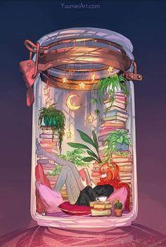 D Book, Book Art, Yuumei Art, Hanging Stars, Nerd, Belle Photo, Lettering, Cute Art, Book Worms