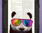 panda met bril, dieren in kostuums, regenboog