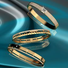 Sleek round edges dripping in luscious 18K gold and diamond goodness. #aquaejewels Braclets Gold, Jewelry Bracelets, 18k Gold Jewelry, Diamond Jewelry, Gold Bangles Design, Jewelry Design, Indian Jewelry Sets, Gold Models, Diamond Bangle