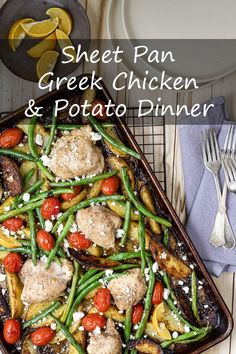 Sheet Pan Greek Chicken and Potato Dinner Pork Recipes For Dinner, Best Chicken Recipes, Potato Recipes, Keto Recipes, Greek Chicken And Potatoes, Potato Dinner, Sheet Pan, Family Meals, Stuffed Peppers