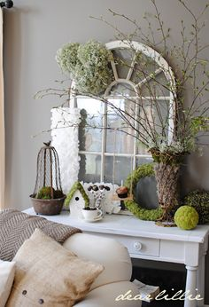 LOVE how fresh and springy this mantle is. Love the window too :) From @Jennifer Holmes - Dear Lillie #mantle