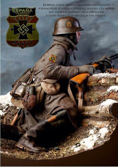 z- Spanish Blue Division, WWII (División Azul, German- Blaue Division) Military Figures, Military Art, Military History, Ww2 Propaganda Posters, German Army, Second World, Toy Soldiers, Panzer, Luftwaffe