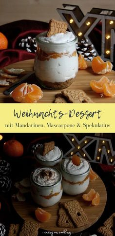 Mandarin mascarpone dessert on speculaas, The Advent season goes by again as if in flight and if you expect a Christmas visit, you should think about your Christmas menu. The right preparation. Dessert Dips, Trifle Desserts, Best Dessert Recipes, Easy Desserts, My Recipes, Dessert Simple, Mascarpone Dessert Recipe, Dessert Halloween, Christmas Desserts