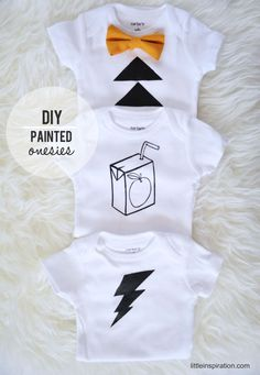 DIY Painted Onesies Tutorial. Great Baby Shower Idea, #Christmas Gift