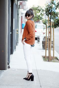polka dots fisherman sweater and those acne heels! dying