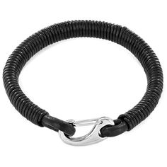 West Coast Jewelry Crucible Black Coiled Leatherette Stainless Steel Clasp Bracelet, Men's