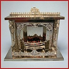"""Antique German Doll House Miniature Nickel-Plated Fireplace Late Victorian 1"""" Scale Dollhouse Furniture"""