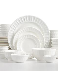 White Elements Paloma Embossed 42-Piece Set, Service for 6 - Dinnerware - Dining & Entertaining - Macy's
